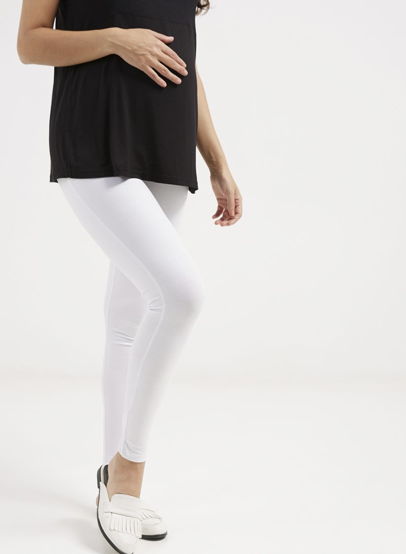 c1e672db1c8e0 Shop mother's nest Maternity Plain Leggings White online in Dubai ...
