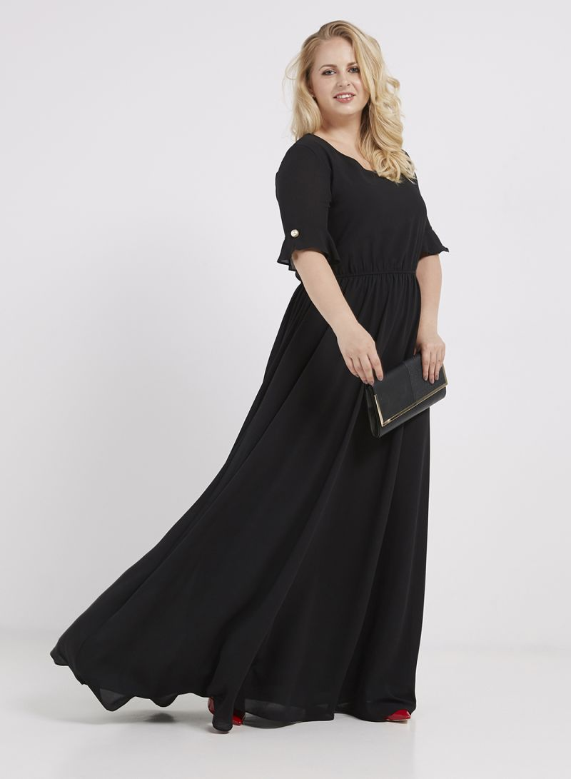 9a67992e5b4 Shop Ella Plus Ruffle Pearl Detail Maxi Dress Black online in Dubai ...