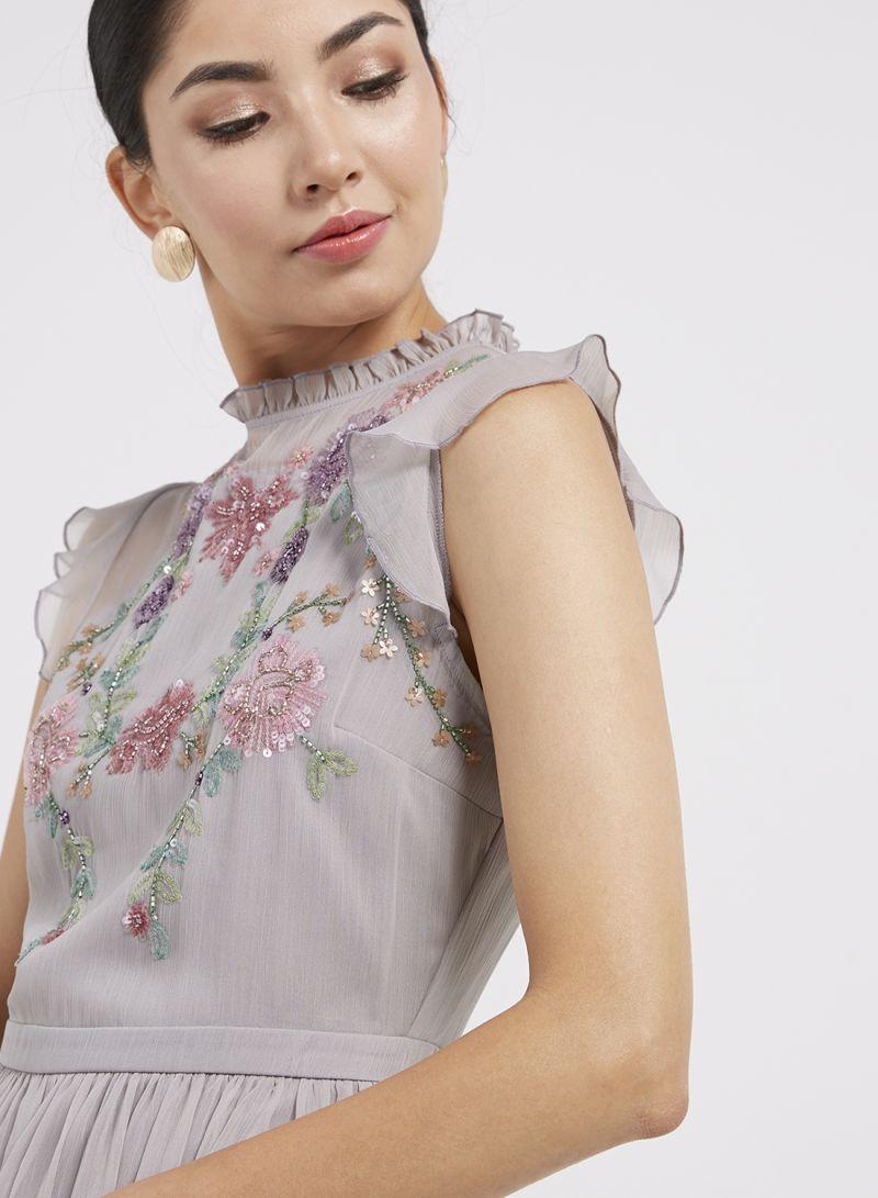 1e6b8533a0f1 Shop Oasis Hydrangea Sequin Midi Dress Pale Grey online in Egypt