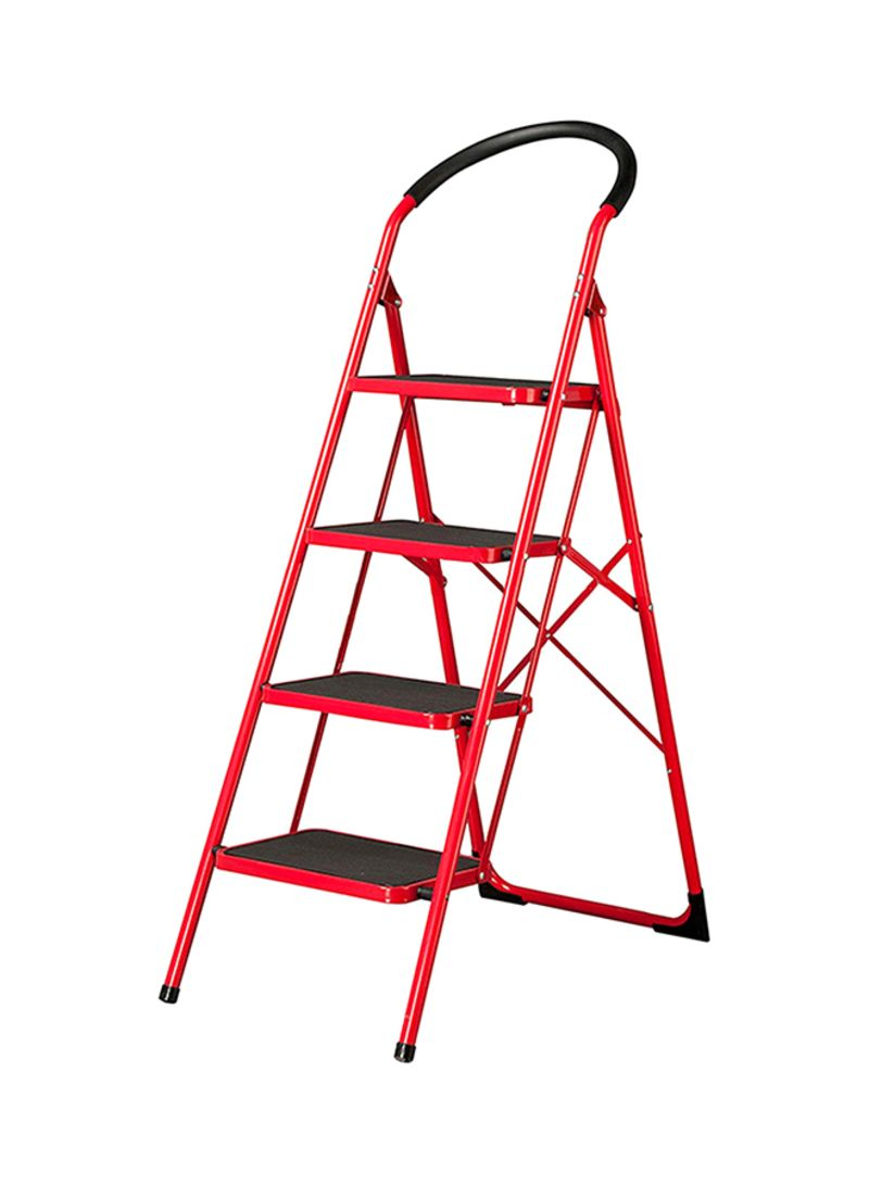 Shop Hawk King 4 Steps Household Folding Ladder Red Black 92 Cm