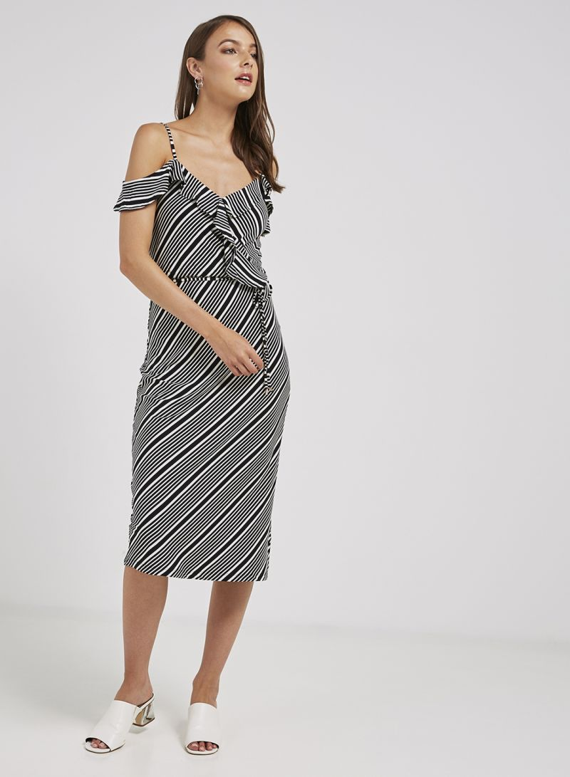fd400d429ec4 Shop Oasis Stripe Ruffle Wrap Midi Dress Black/White online in Egypt