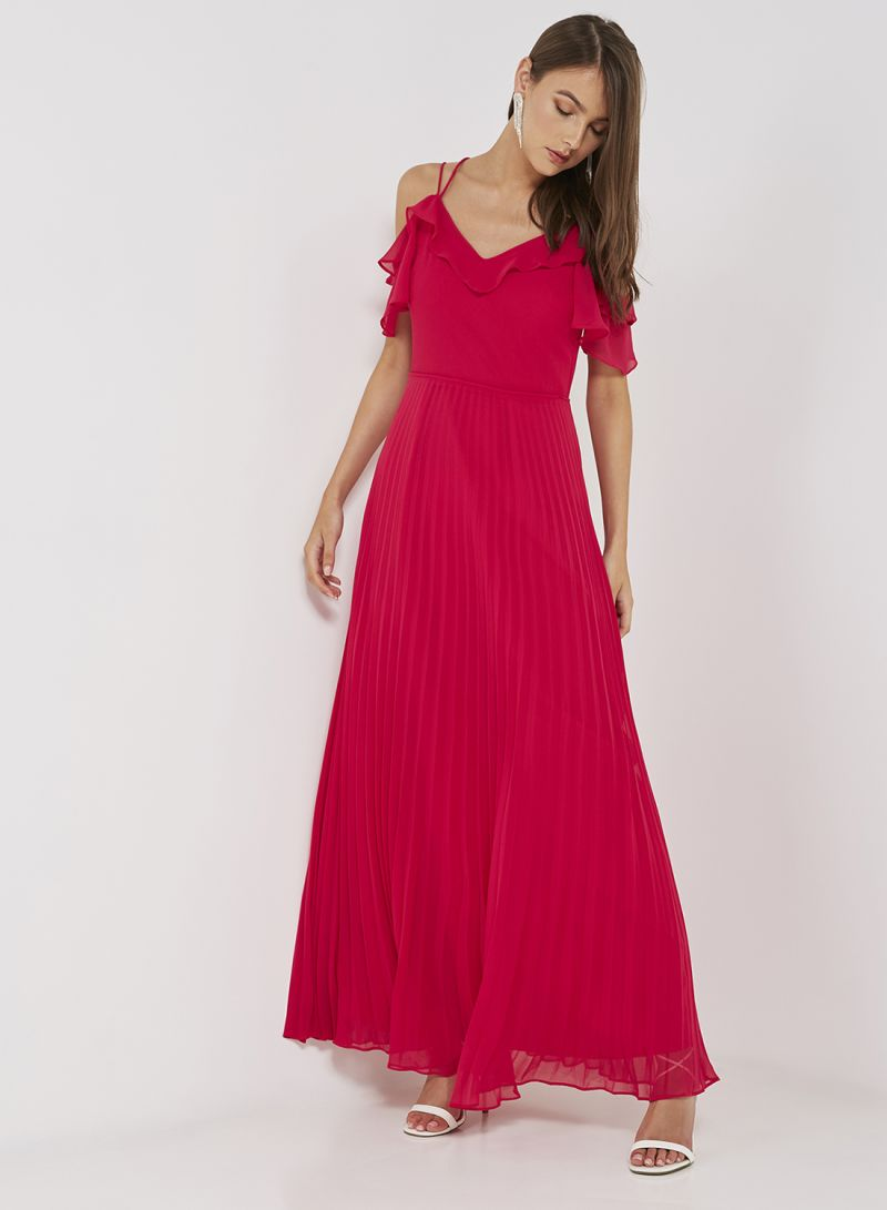 d4532e97724 Shop Oasis Pleated Chiffon Maxi Dress Bright Pink online in Dubai ...