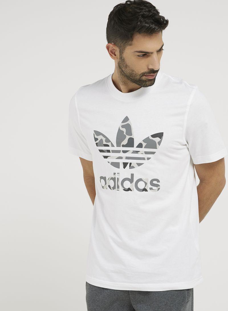 8514abaf Shop adidas Originals Camo Tref T-Shirt White/Grey online in Dubai ...