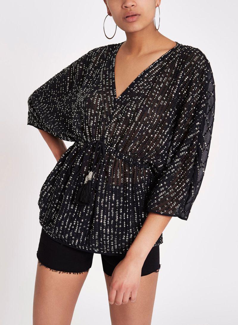 249bb4beaf99b Shop RIVER ISLAND Sequin Embellished Tie Waist Top Black online in ...