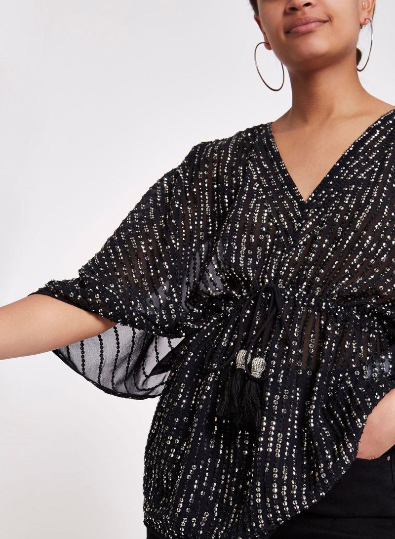 f0d082b8aef874 Shop RIVER ISLAND Sequin Embellished Tie Waist Top Black online in ...
