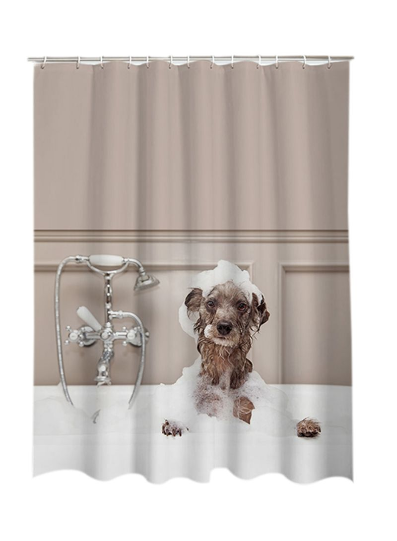 Shop Htovila 3D Print Shower Curtain Brown White Online In Dubai