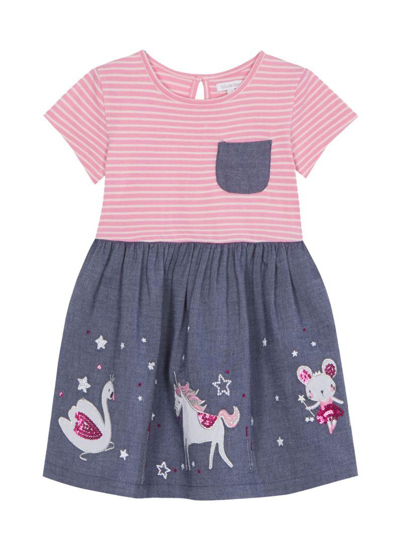 7c5ea9b89e6f Shop Debenhams Bluezoo Chambray Embroidered Unicorn Dress Pink/Grey ...