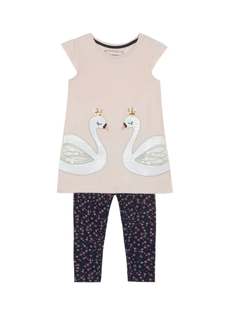 ea2cc033f Shop Debenhams Bluezoo Girls Sequined Swan Tunic And Leggings Set ...