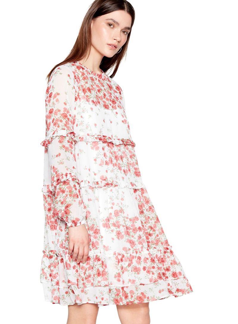 590c3bad41a0 Shop Debenhams Studio By Preen Floral Print Chiffon Dress Red/White ...