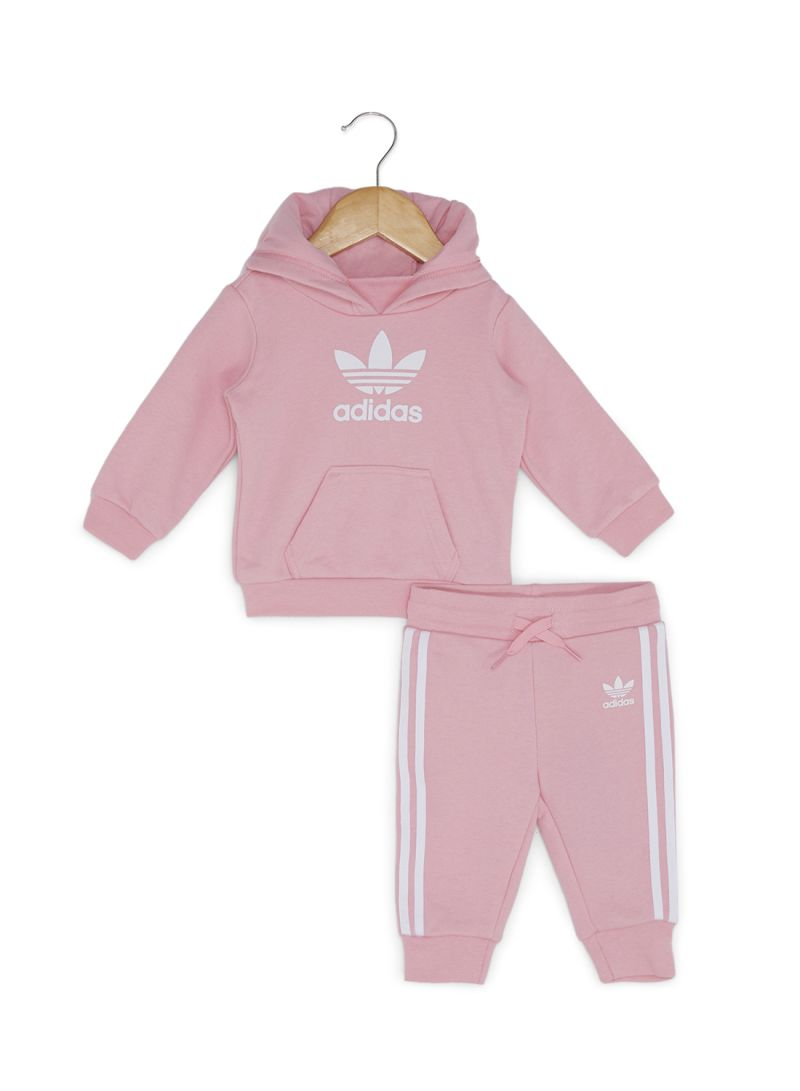da7c6f46f524 Shop adidas Originals 2 Piece I Trf Hoodie Set Light Pink White ...