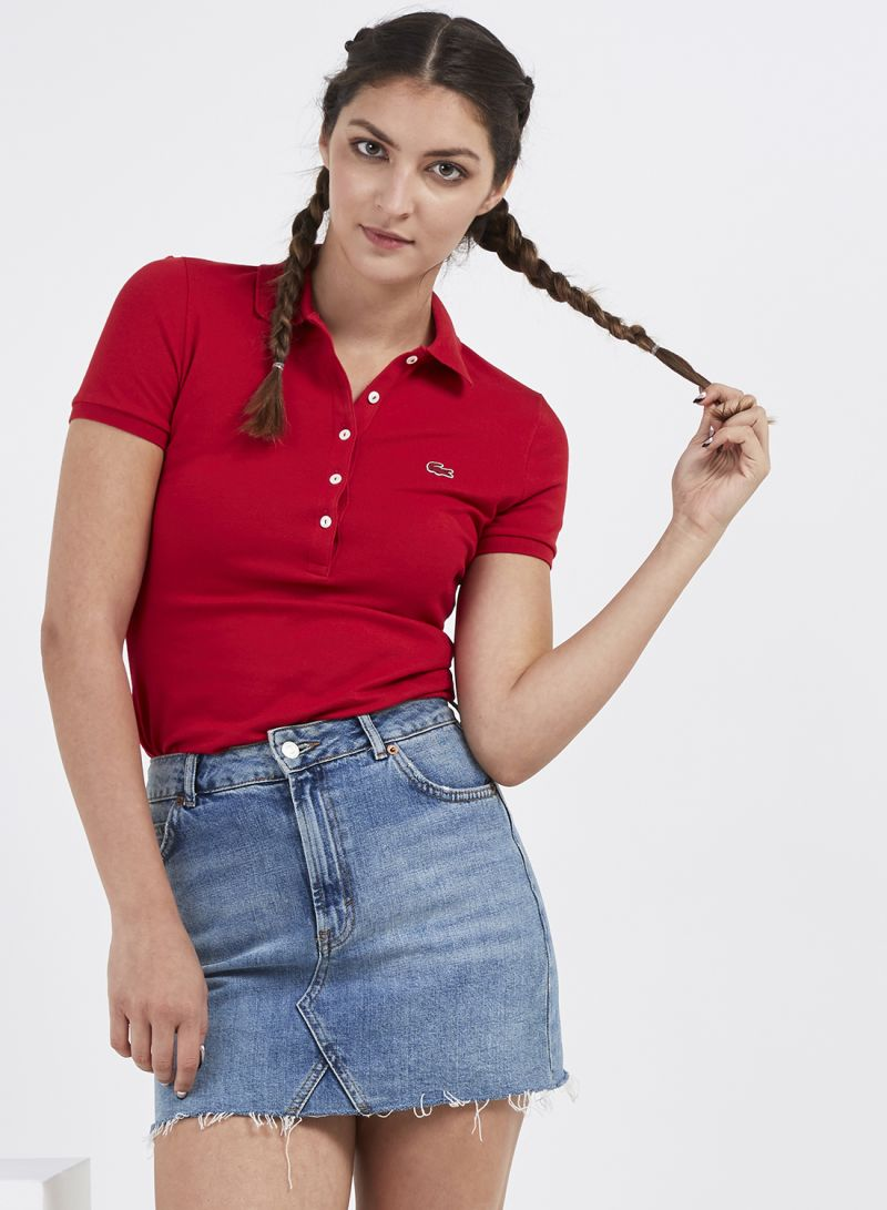 aa31f2b6 Shop Lacoste Solid Short Sleeve Polo T-Shirt Red online in ...