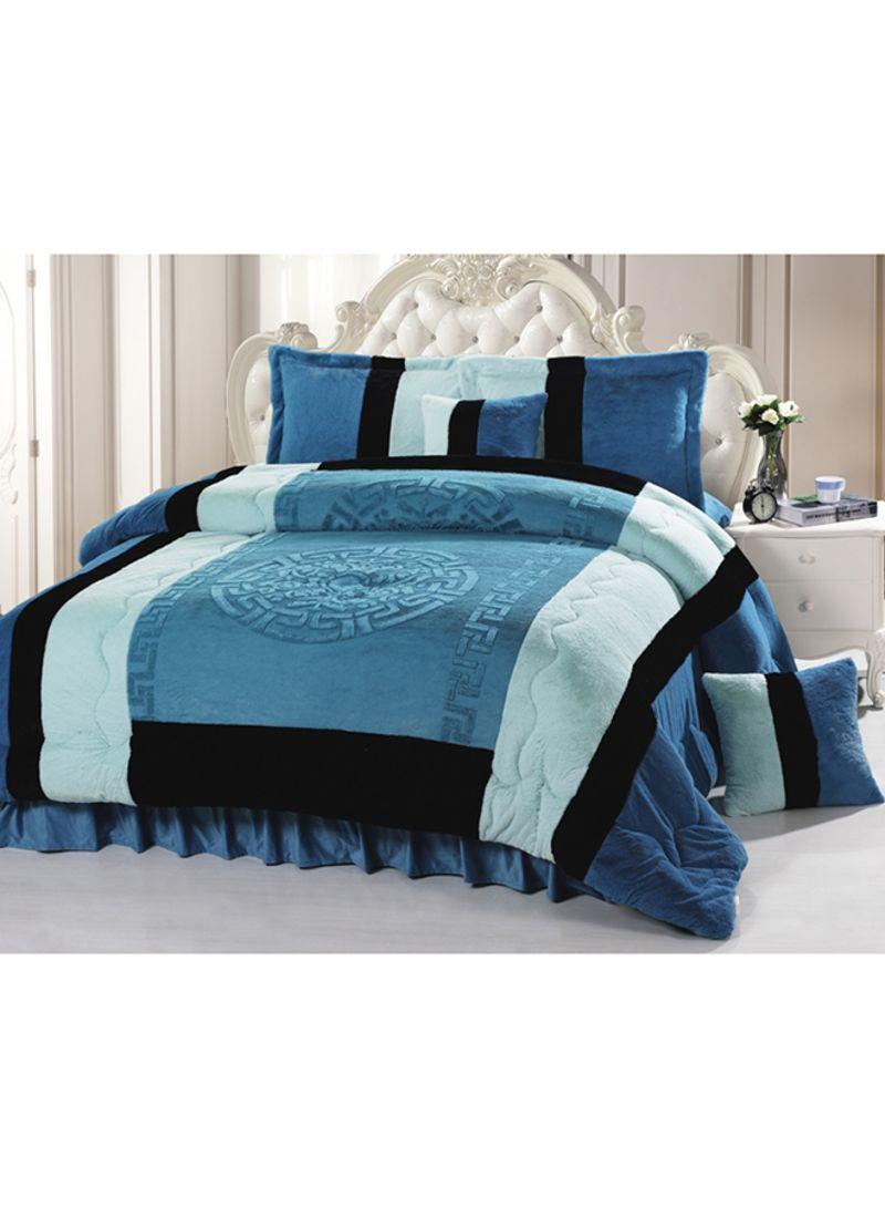 6 Piece Velour Velvet Comforter Set Velvet Blue Black King Price In Uae Noon Uae Kanbkam