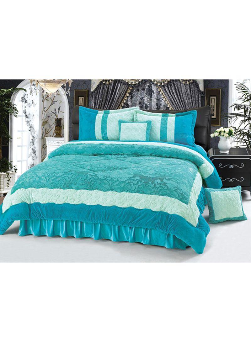 6 Piece Velour Comforter Set Velvet Green King Price In Uae Noon Uae Kanbkam