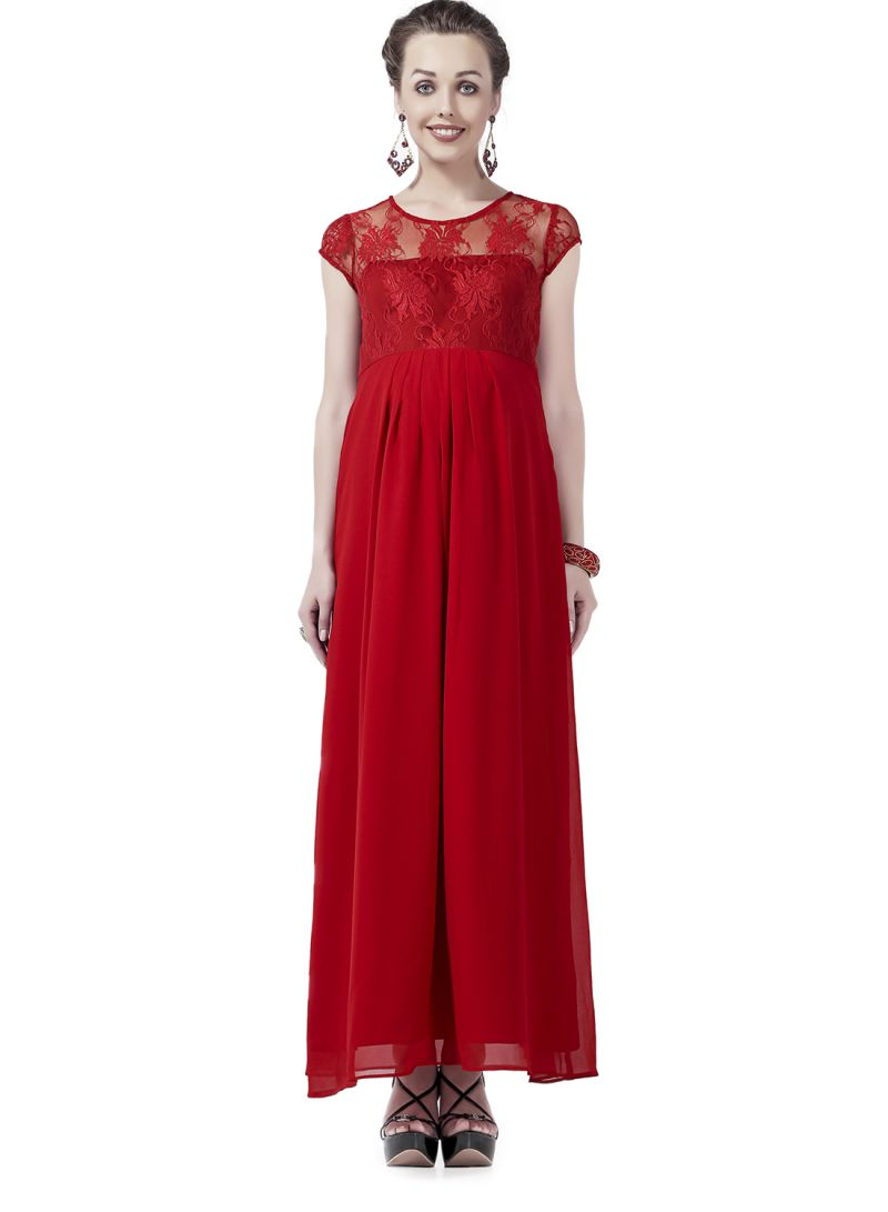3b64f07519ab8 Shop House of Napius Round Neck Fashionable Maternity Maxi Dress Red ...