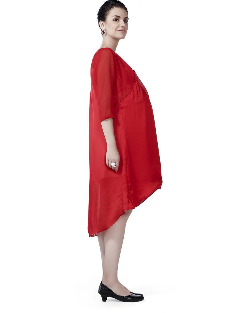 c61fe4b8919 Shop House of Napius V-Neck Comfortable Maternity Midi Dress Red ...