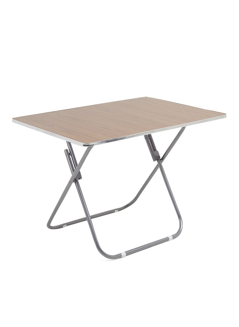 shop home genie rectangle shaped folding table brown silver online