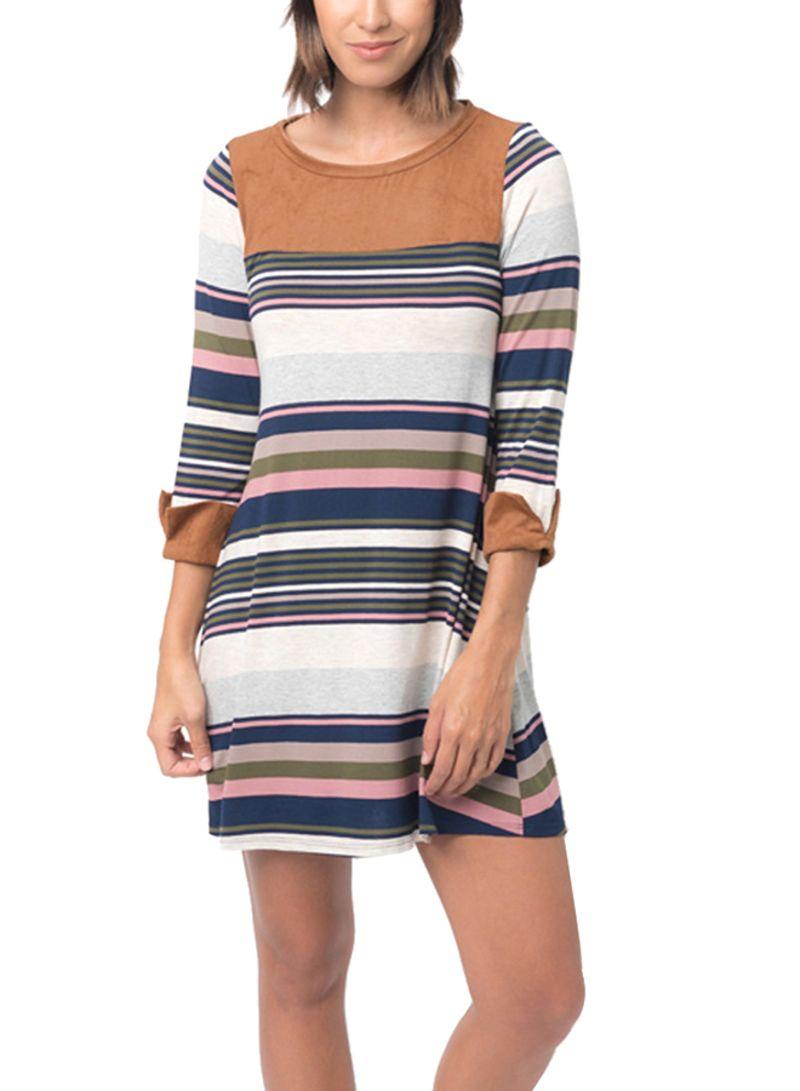 740ffa4c79d7 Shop Generic Stripe Print Round Neck Mini Dress Multicolour online ...