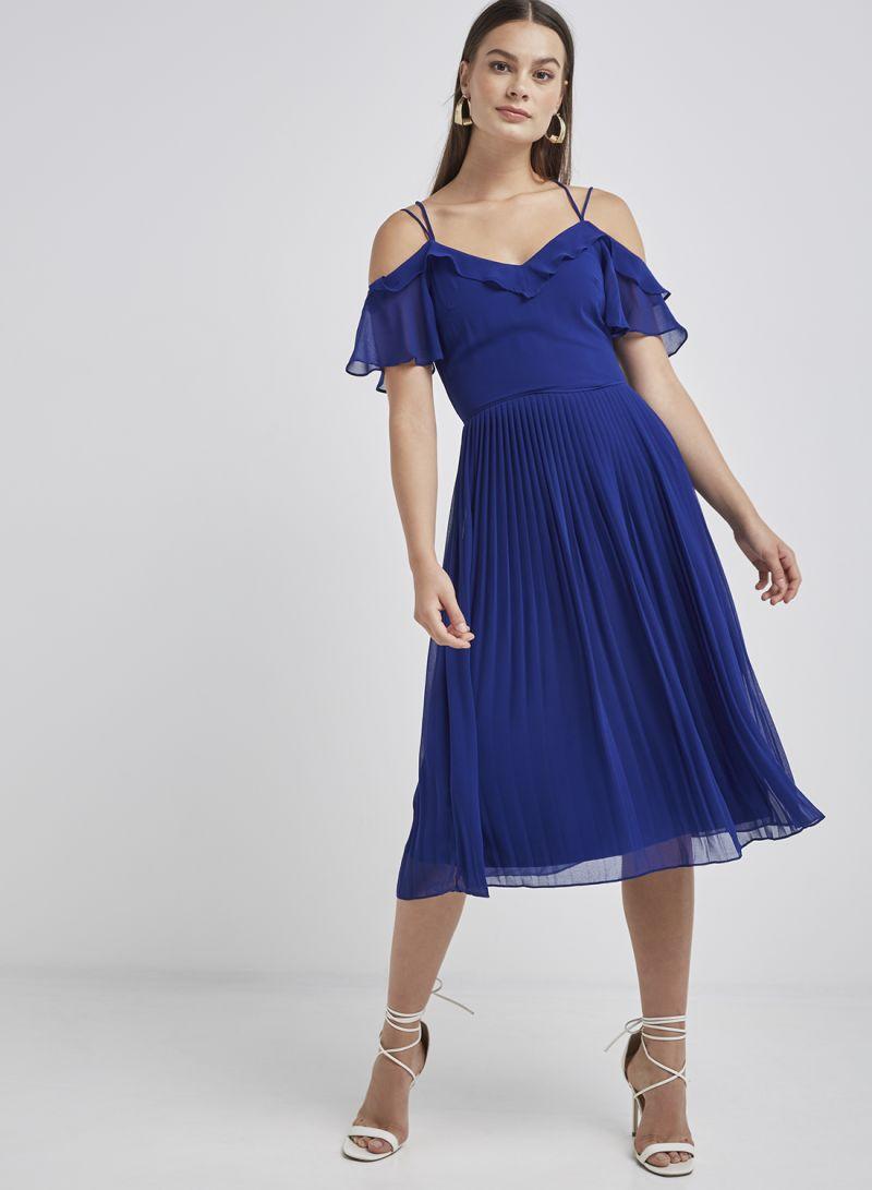 1342f8c670c2 Shop Oasis Chiffon Pleated Midi Dress Blue online in Dubai, Abu ...