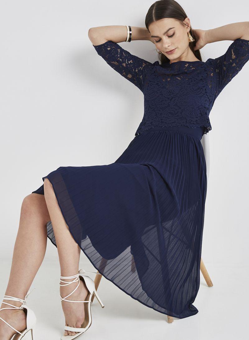 1736acd56f54 Shop Oasis Ellie Lace Top Midi Dress Navy online in Dubai, Abu Dhabi ...