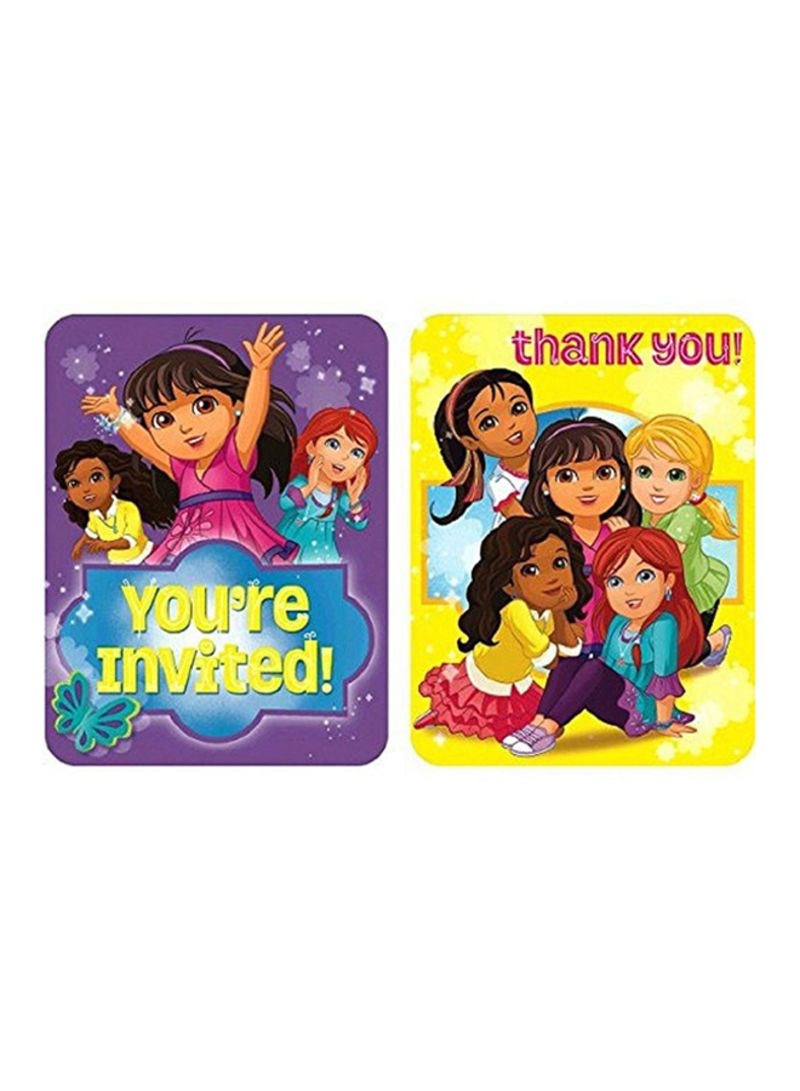 Shop Amscan 8-Piece Dora And Friends Invitation And Thank You Card Set  online in Dubai, Abu Dhabi and all UAE