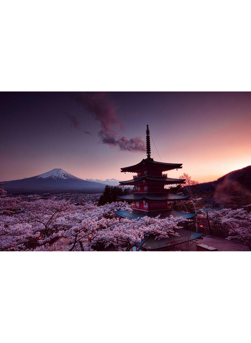Churei Tower Mount Fuji In Japan Wall Art Canvas Print Multicolour 100x64x3 5 Cm