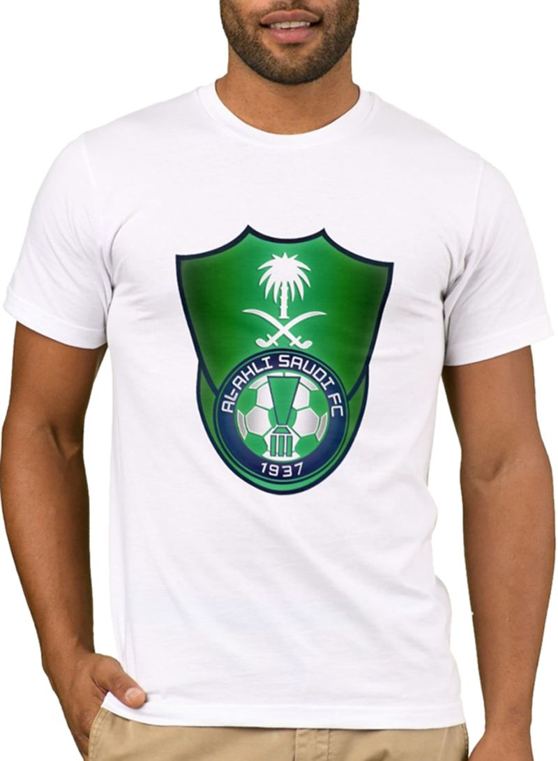 b6bbf55b56 Shop 1st Piece Al Ahli Saudi FC Design Short Sleeve T-Shirt White online in  Riyadh, Jeddah and all KSA
