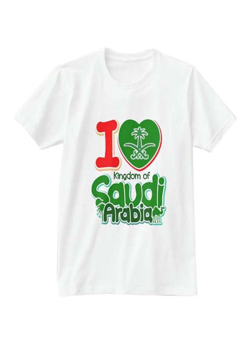 de0c835795 Shop 1st Piece I Love Saudi Arabia Design Short Sleeve T-Shirt White ...