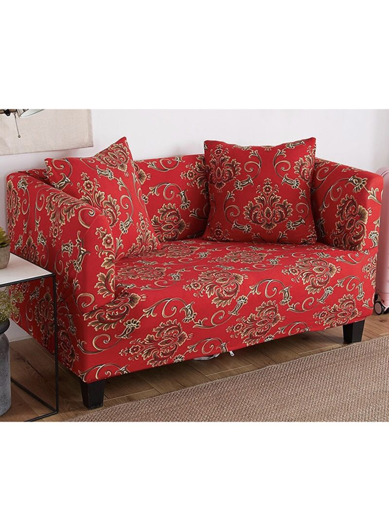 Bohemia Two Seater Sofa Cover Red Gold