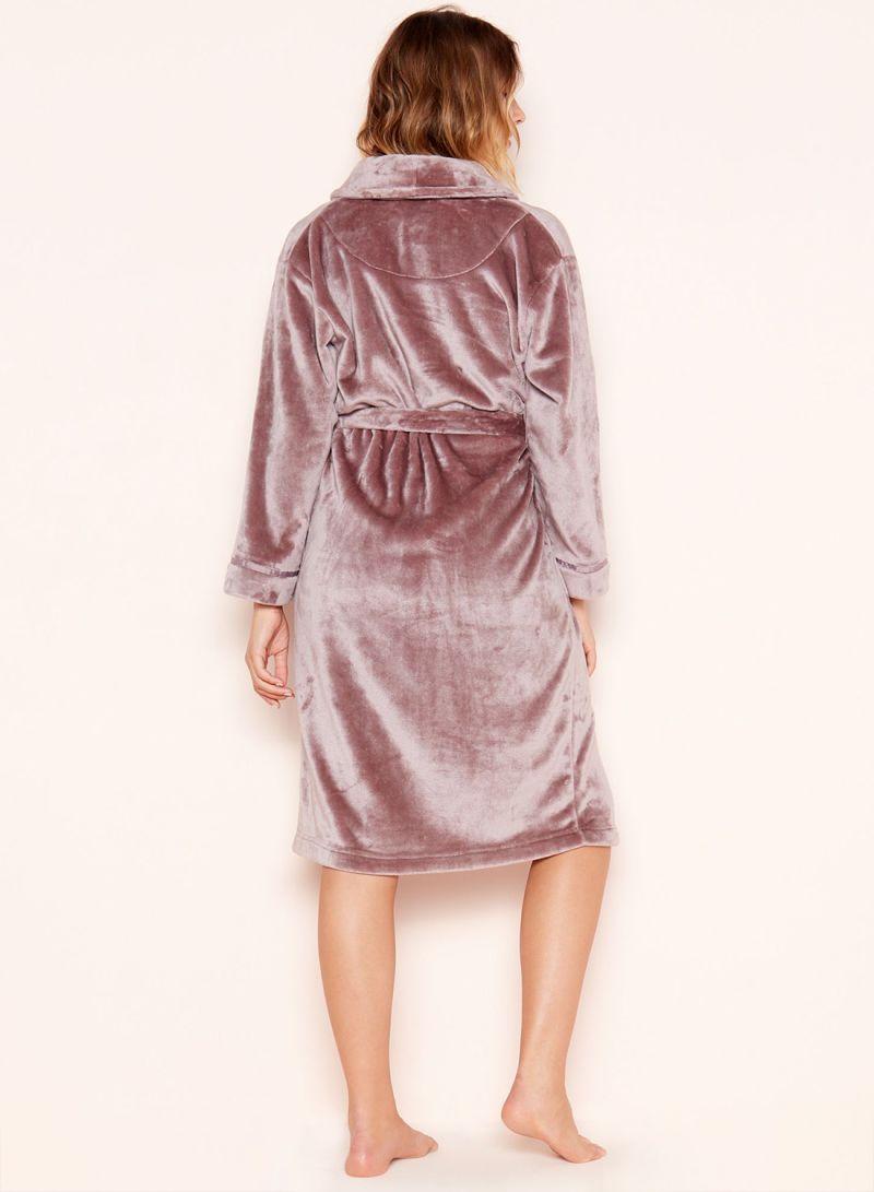 983a4b3224e Shop Debenhams Lounge   Sleep  Sleek  Fleece Dressing Gown Taupe ...
