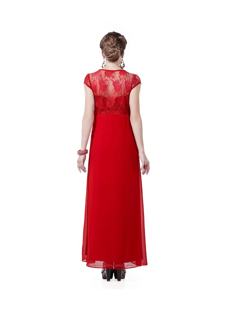 05084f9195867 Shop House of Napius Lace Detailed Maternity Dress Red online in ...
