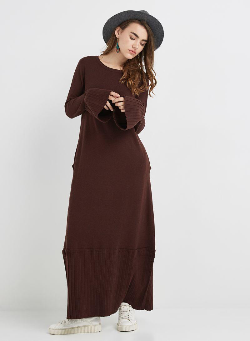 6df98734a234 Shop Anotah Bell Sleeve Maxi Dress Coffee online in Riyadh