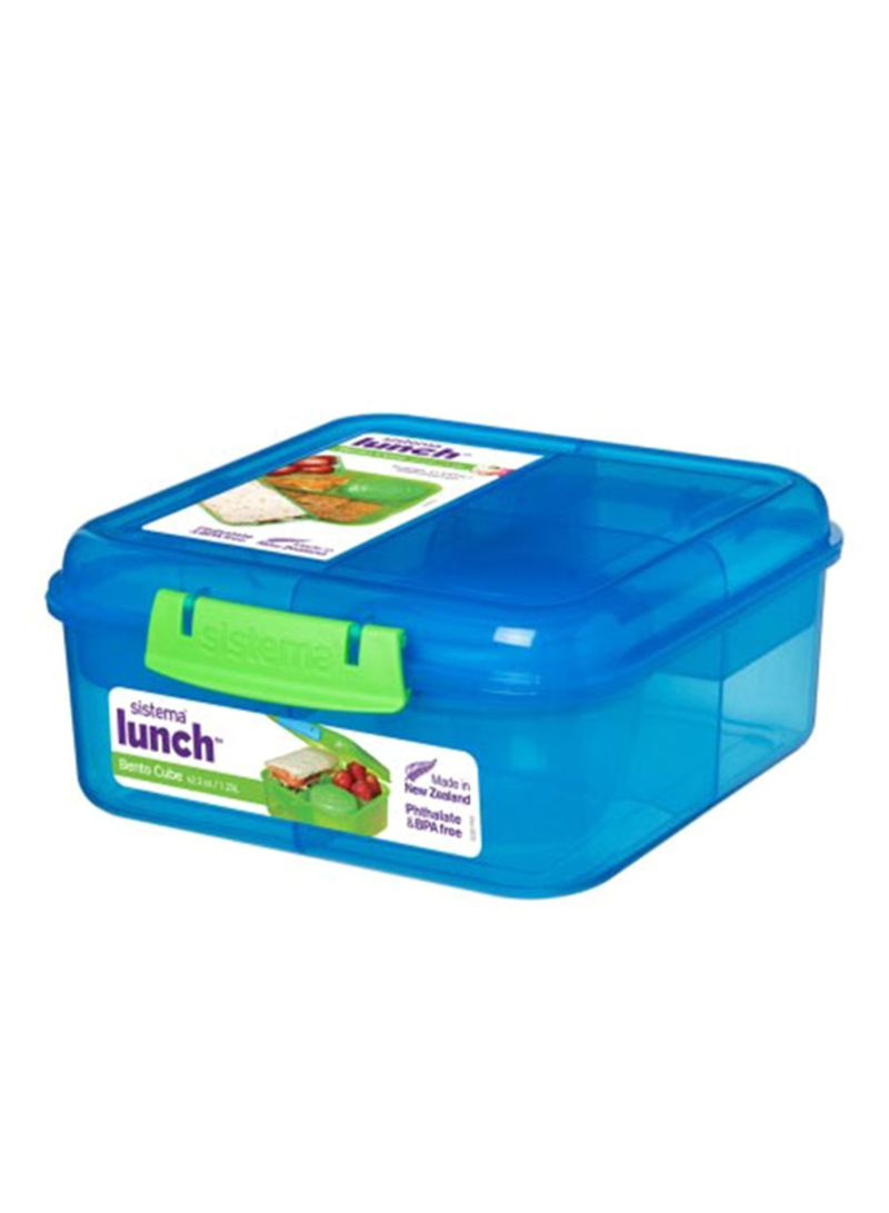 Sistema Bento Cube Lunch Box Blue Clear 185x218x77