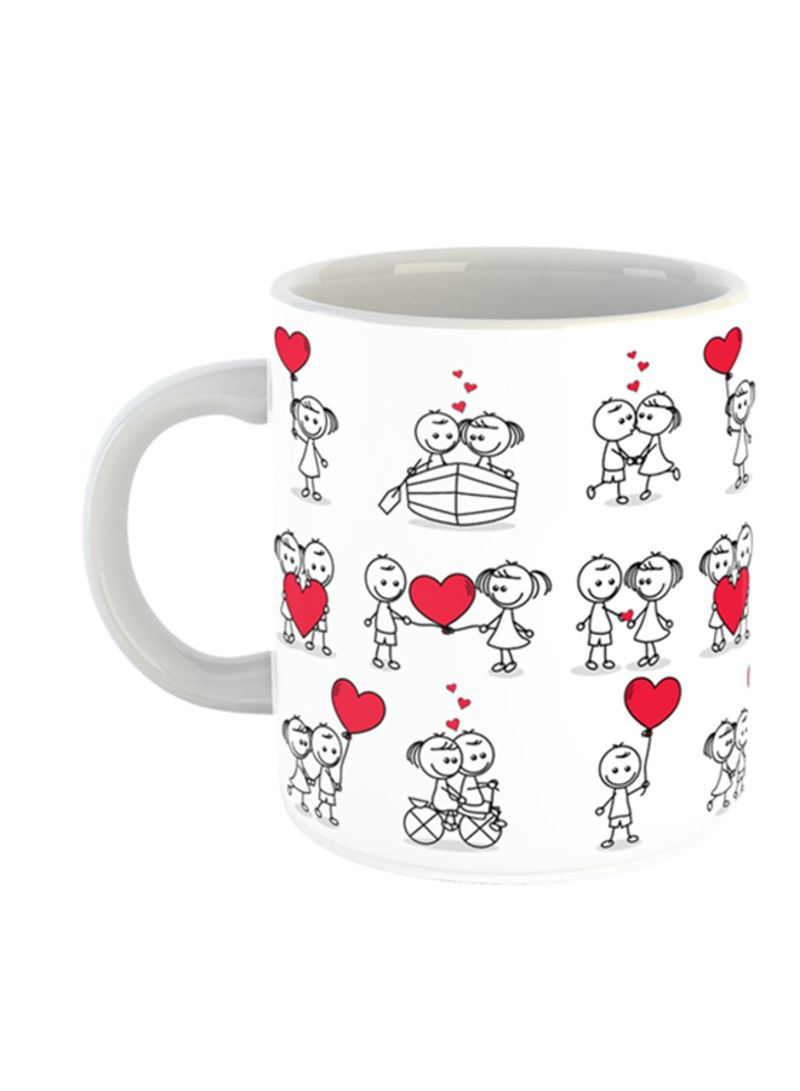 Cute Couple Doodle With Hearts Printed Coffee Mug White Red Black 11ounce Price In Uae Noon Uae Kanbkam