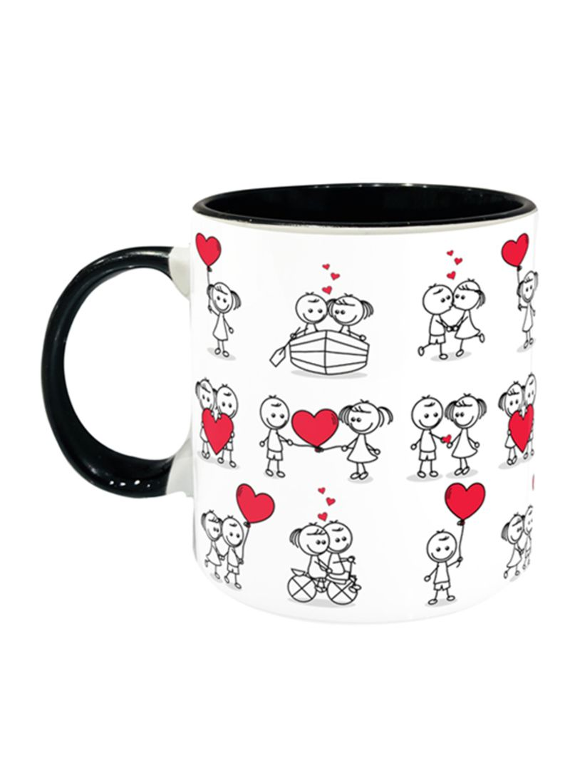 Cute Couple Doodle With Hearts Printed Coffee Mug Black White Red 11ounce Price In Uae Noon Uae Kanbkam