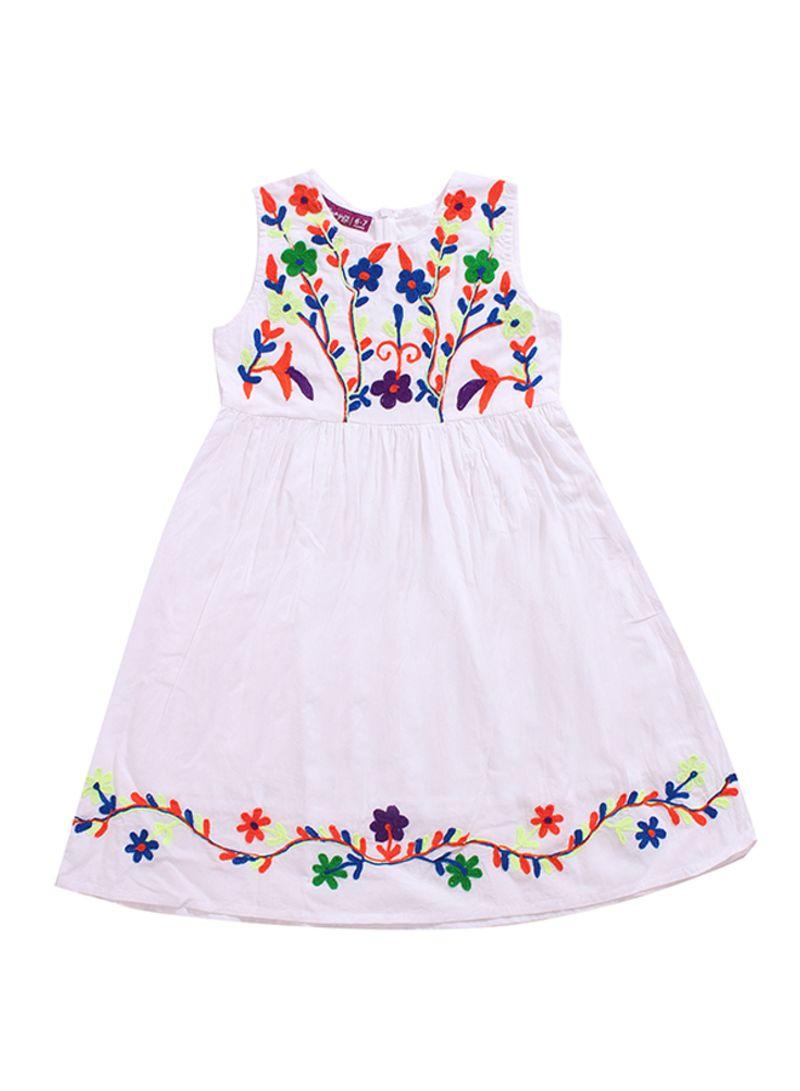 830fc26e2e2c Shop Flower Girl Sleeveless Embroidered Dress White/Orange/Green ...