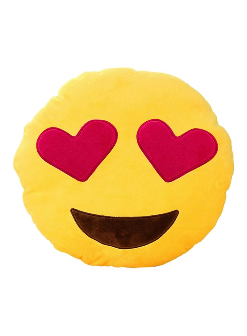 Shop BeeCool Emoji Love In My Eyes Round Cushion Pillow Yellow/Red online  in Riyadh, Jeddah and all KSA