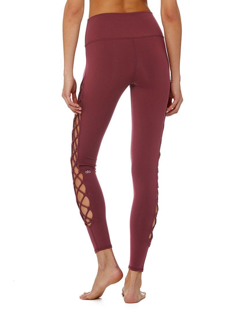 4936d48480 Shop Alo Yoga Interlace Leggings Black Cherry online in Dubai, Abu ...