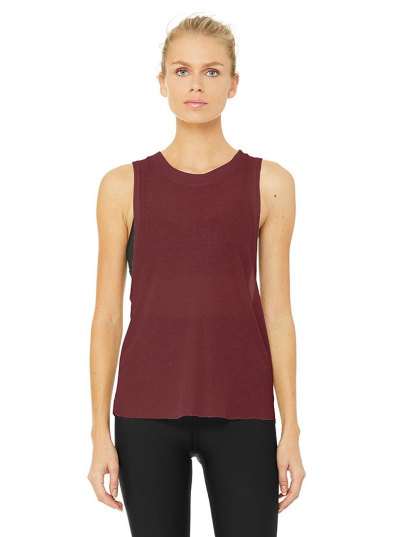 dbdc35cc536afc Shop Alo Yoga Heat-Wave Tank Top Black Cherry online in Dubai