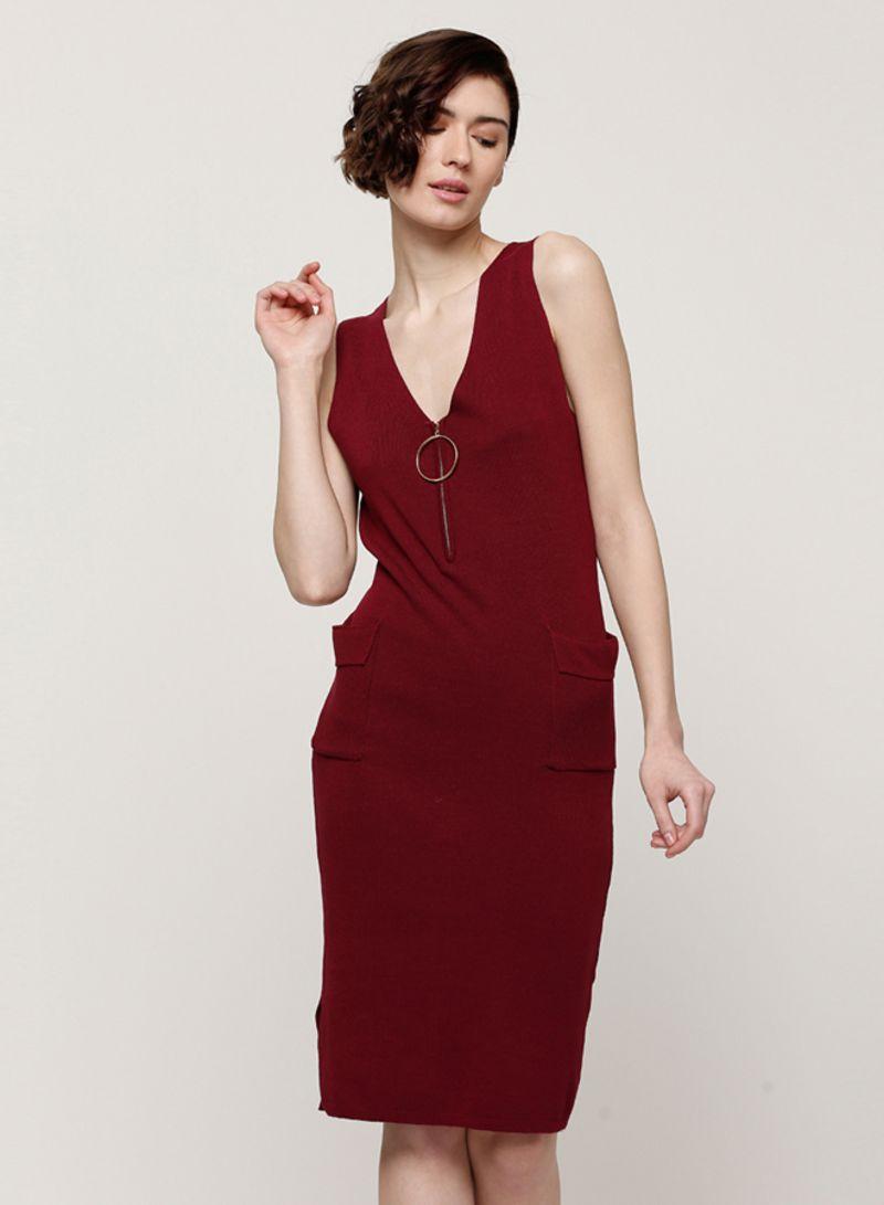 939765c1cfa Shop 2Xtremz V Neck Pinafore Dress With Oversized Hoop And Pocket ...