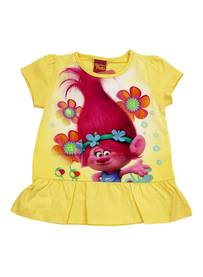 5176707a Shop CHARACTER & KIDS Dreamworks Trolls Printed Frock Yellow/Pink ...