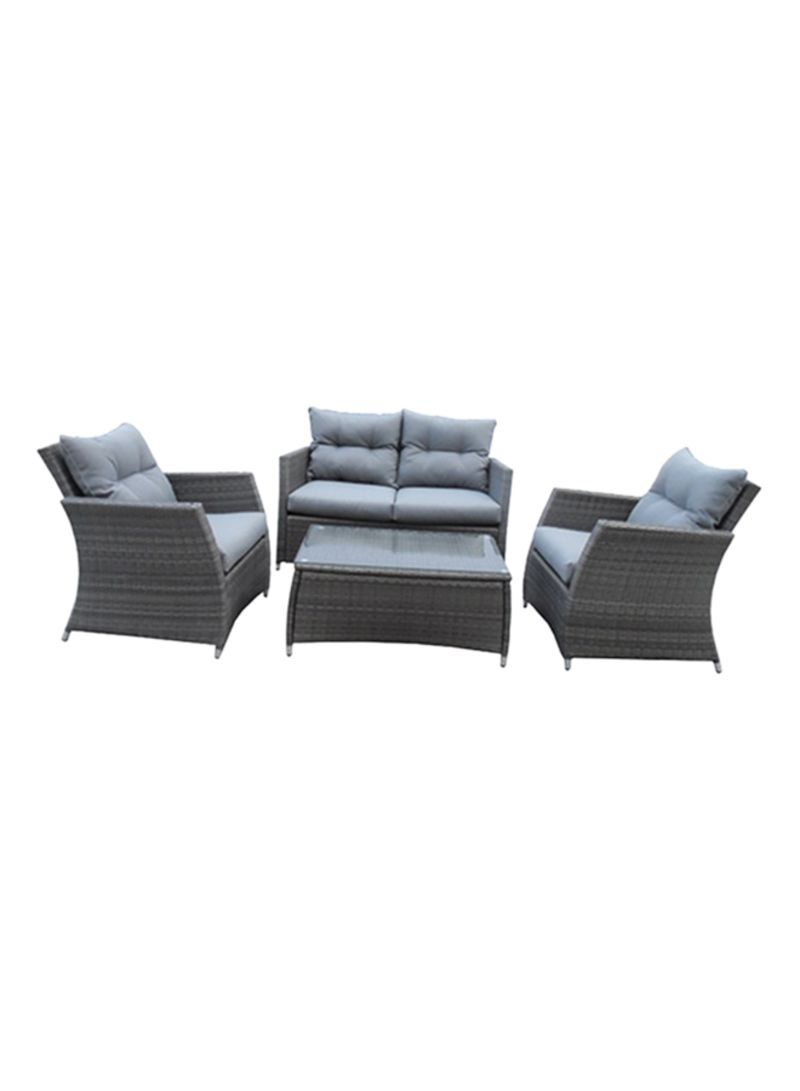 Shop Homz 4 Piece Patio Furniture Set With Back Seat Cushions Grey
