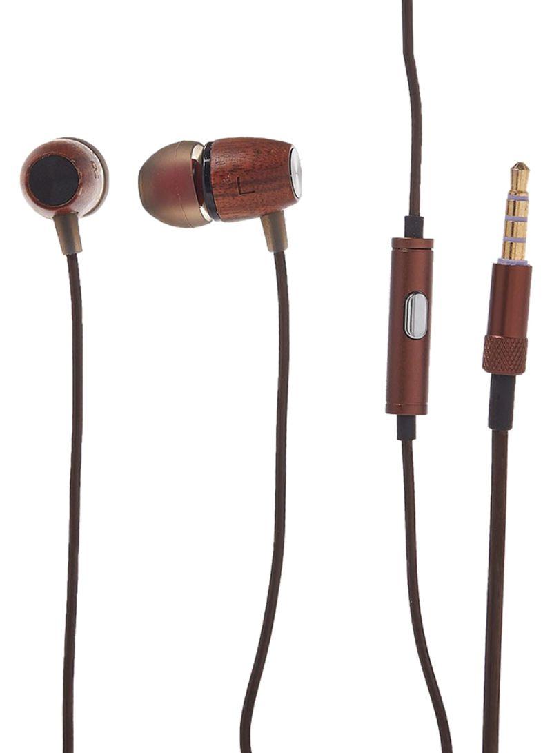 Shop Vibgyor Woods Strong Bass In Ear Earphone Brown Online In Dubai Abu Dhabi And All Uae