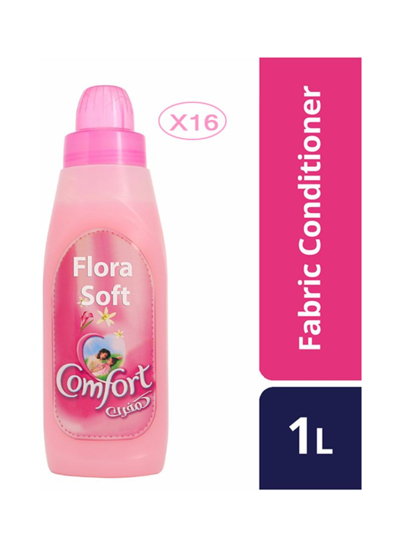 16-Piece Flora Soft Fabric Softener Pink 16 x 1L