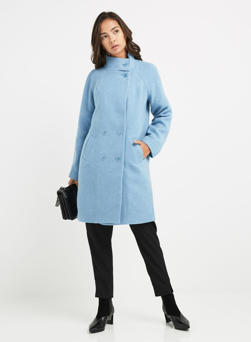 598279ba9 Shop Oasis Ash Funnel Neck Coat Mid Blue online in Dubai, Abu Dhabi and all  UAE