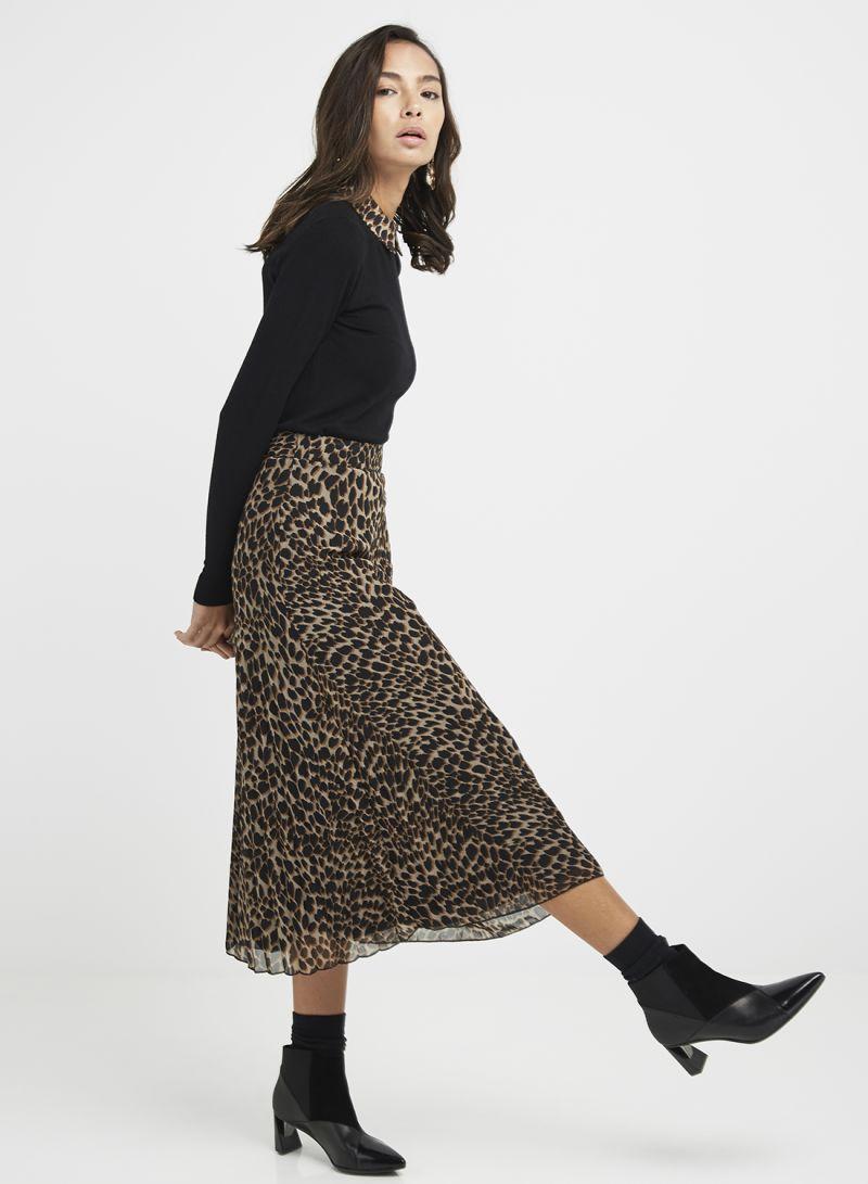 3e111d9c6e Shop Warehouse Leopard Pleated Midi Skirt Brown/Black online in ...