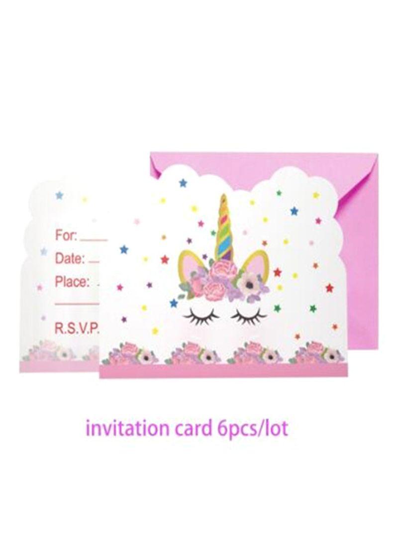 Buy Now Taniafa 6 Piece Rainbow Unicorn Invitation Card
