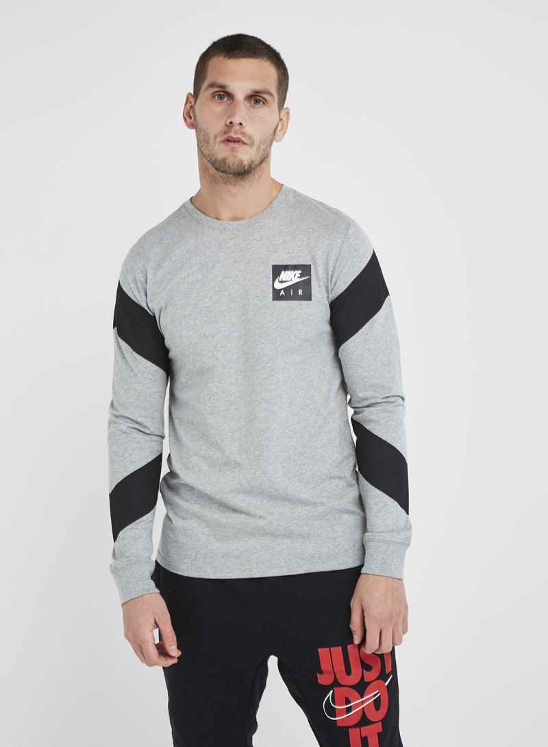 eec3664b Shop Nike NSW Tee LS CLTR AIR 2 T-Shirt Dark Grey Heather/White ...