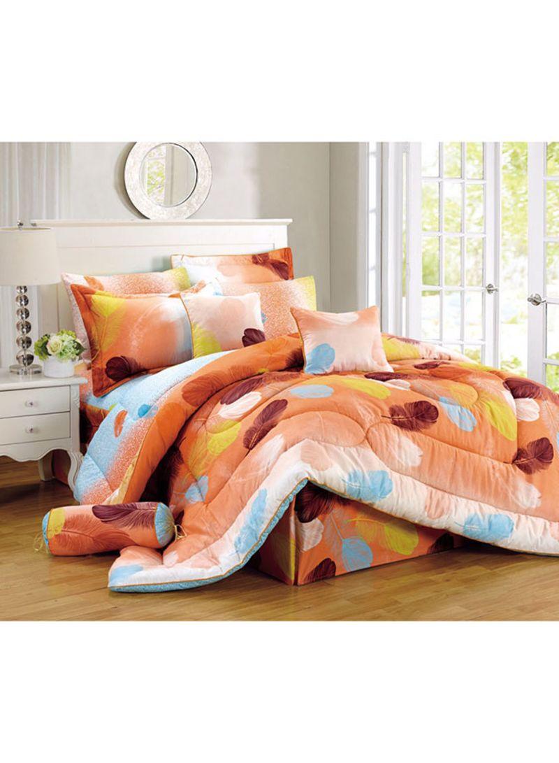 9 Piece Glennar Comforter Set Cotton Orange Brown Yellow King Price In Saudi Arabia Noon Saudi Arabia Kanbkam