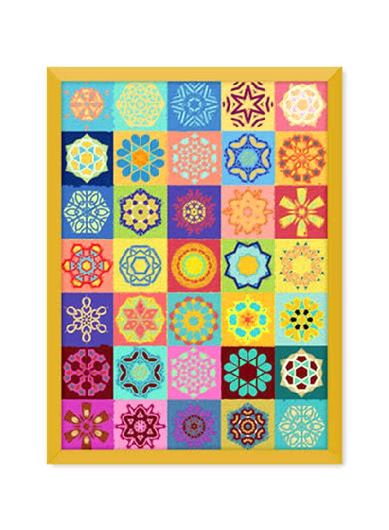 Khalid shahin custom made zeliij mandala art canvas printed painting multicolour