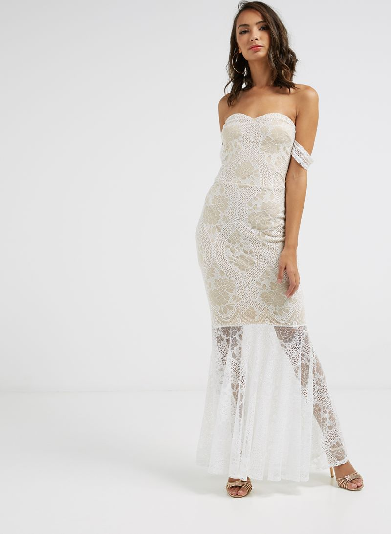 Shop I Saw It First Bardot Lace Fishtail Off Shoulder Maxi Dress White Online In Riyadh Jeddah And All Ksa